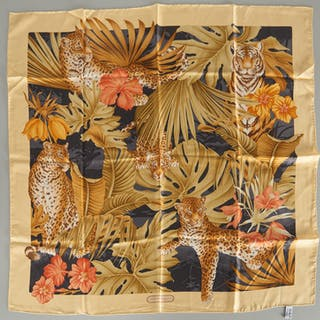 Salvatore Ferragamo silk jungle cat scarf