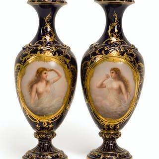 A pair of Royal Vienna-style hand-painted cabinet vases