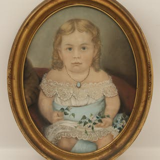 OVAL FRAMED PASTEL OF YOUNG GIRL