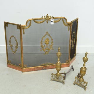 Louis XVI style fire screen and pair andirons