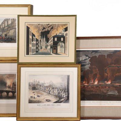(10) EARLY LITHOGRAPHS DEPICTING FIRE DISASTERS, FROM A MUSEUM COLLECTION