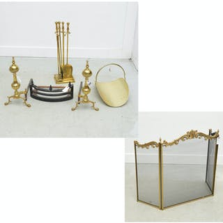 Assembled Continental brass fireplace group