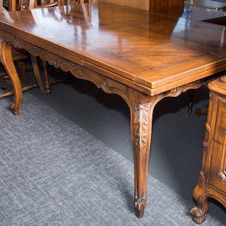 Louis XV Style Oak Draw-leaf Dining Table