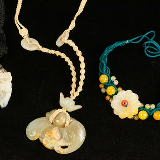 (3) CARVED STONE FIGURE CHINESE NECKLACES