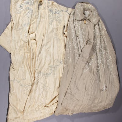 EMBROIDERED CLOAK AND KIMONO-TYPE COAT, LOT OF TWO