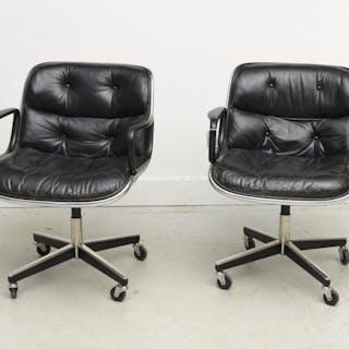 (2) vintage Charles Pollock / Knoll armchairs