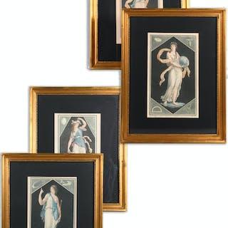 Louis-Simon Boizot (after), Muses, (4) mezzotints