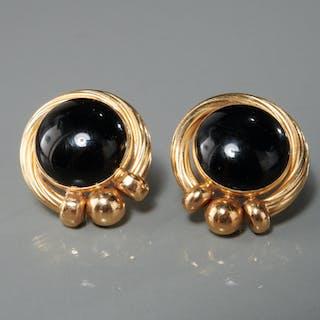 PBD 14K gold & onyx pierced earrings