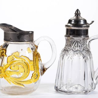 ASSORTED EAPG - STAINED SYRUP PITCHERS, LOT OF TWO