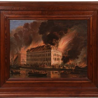 RARE PAINTING OF THE GREAT FIRE OF 1835, NEW YORK CITY