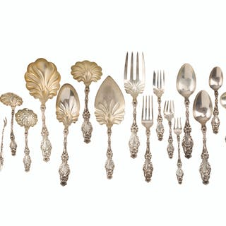 """A Whiting & Co. """"Lily"""" sterling silver flatware service"""