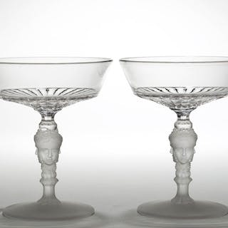 THREE FACE / DUNCAN NO. 400 (OMN) SAUCER CHAMPAGNES, LOT OF TWO
