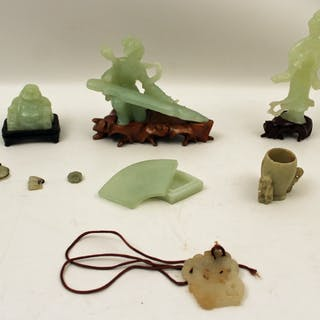 9 PC. MISC. LOT OF JADE ITEMS