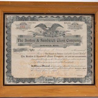 BOSTON & SANDWICH CO. II FRAMED STOCK CERTIFICATE - -