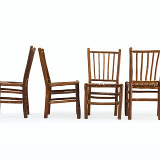 Four Old Hickory dining chairs