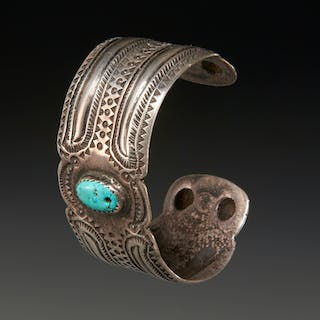 Old Navajo silver and turquoise cuff bracelet