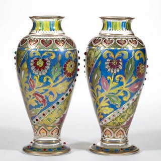 BOHEMIAN POLYCHROME STAINED GLASS PAIR OF VASES