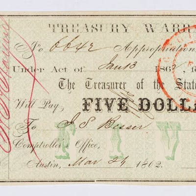 STATE OF TEXAS CIVIL WAR OBSOLETE CURRENCY / NOTE