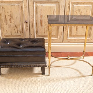 Empire-Style Marble Top Brass Table & Ottoman