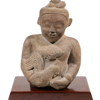 EARLY POTTERY BUST OF BUDDHA WITH HEN