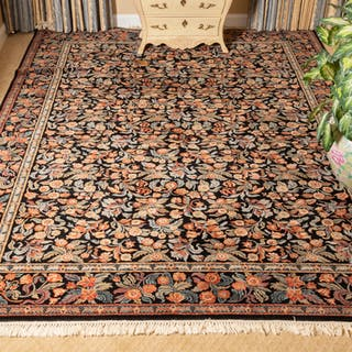 Couristan Wool Raven Black Floral Tapestry Rug