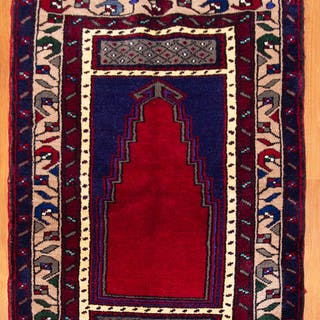 Turkish Konya Prayer Rug, 2.10 x 3.9