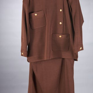 Chanel Boutique brown tunic with skirt ensemble