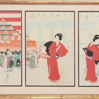 Yoshu Chikanobu, woodblock triptych