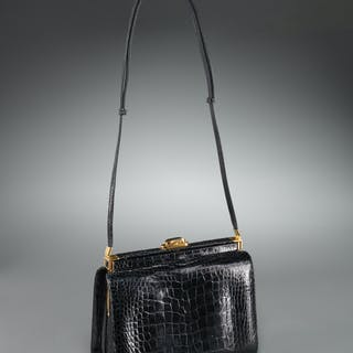 Judith Leiber black crocodile handbag