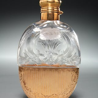 14k gold and cut glass scent bottle