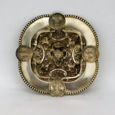 1938 Portuguese Sterling Silver Repousse Coin Tray