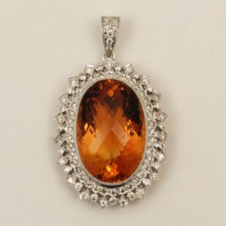 18K GOLD DIAMOND AND CITRINE PENDANT