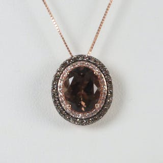 14K ROSE GOLD SMOKY TOPAZ AND DIA. NECKLACE