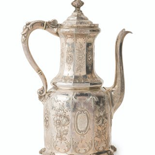 A Gothic Revival Ball, Black & Co. silver coffee pot