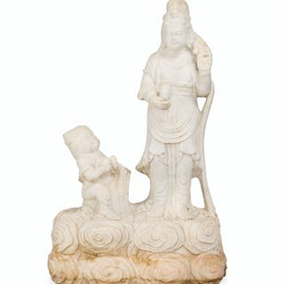 A Chinese carved white marble statue