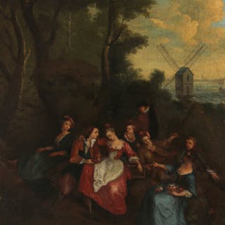 "19TH C. O/C PAINTING TITLED ""FAIRE LA FETE"""