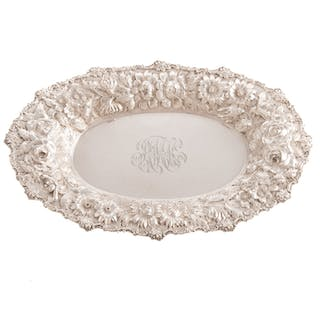 """Stieff """"Rose"""" Repousse Sterling Bread Tray"""