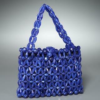 Bottega Veneta cobalt beaded evening bag
