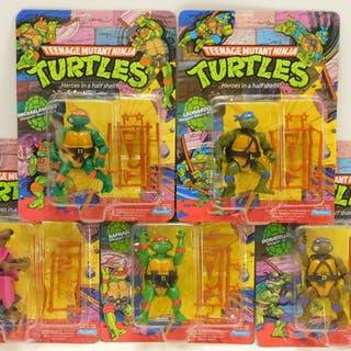 5PC 1988 Playmates TMNT MOSC Action Figure Group