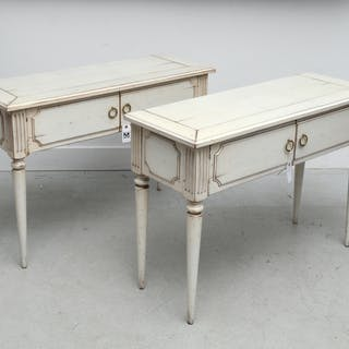 Pair Directoire style console cabinets