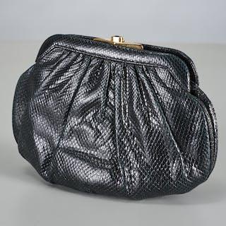 Judith Leiber black lizard handbag