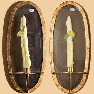Pair Gilt-Metal Mirrored Sconces