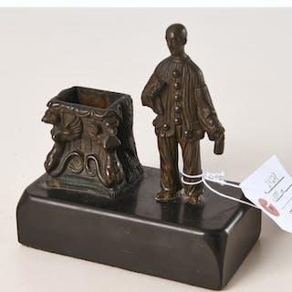 Pierrot bronze figural match stick holder