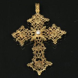 18K Y/G OPEN WORK CROSS PENDANT W/DIAMOND; 42.5 GR TW