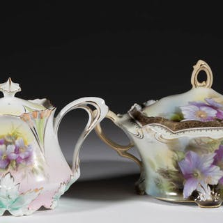 R.S. PRUSSIA PORCELAIN TEA ARTICLES, LOT OF TWO
