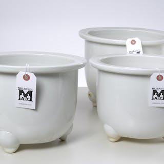 Set (3) Chinese blanc de chine jardinieres