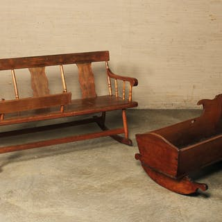 AMER. CHERRY MAMMY BENCH AND CRADLE