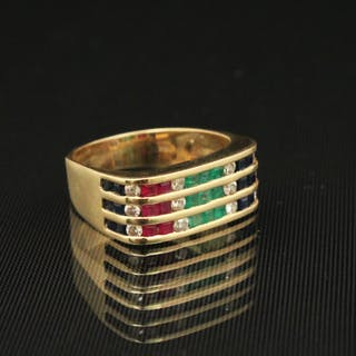 14K Y/G DIAMOND, RUBY, EMERALD AND SAPPHIRE RING;  5 GR TW