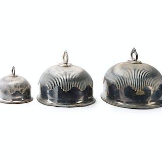 Three English Sheffieldplate turkey domes