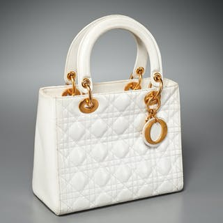 "Christian Dior white Cannage ""Lady Dior"" handbag"